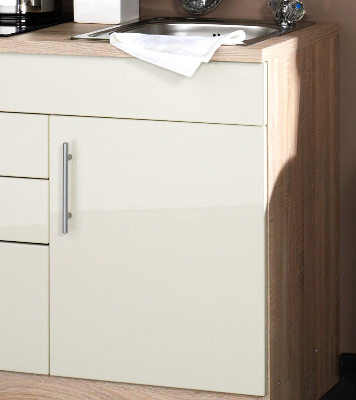neu singlek che berlin mit glaskeramikkochfeld minik che 100cm creme sonoma ebay. Black Bedroom Furniture Sets. Home Design Ideas