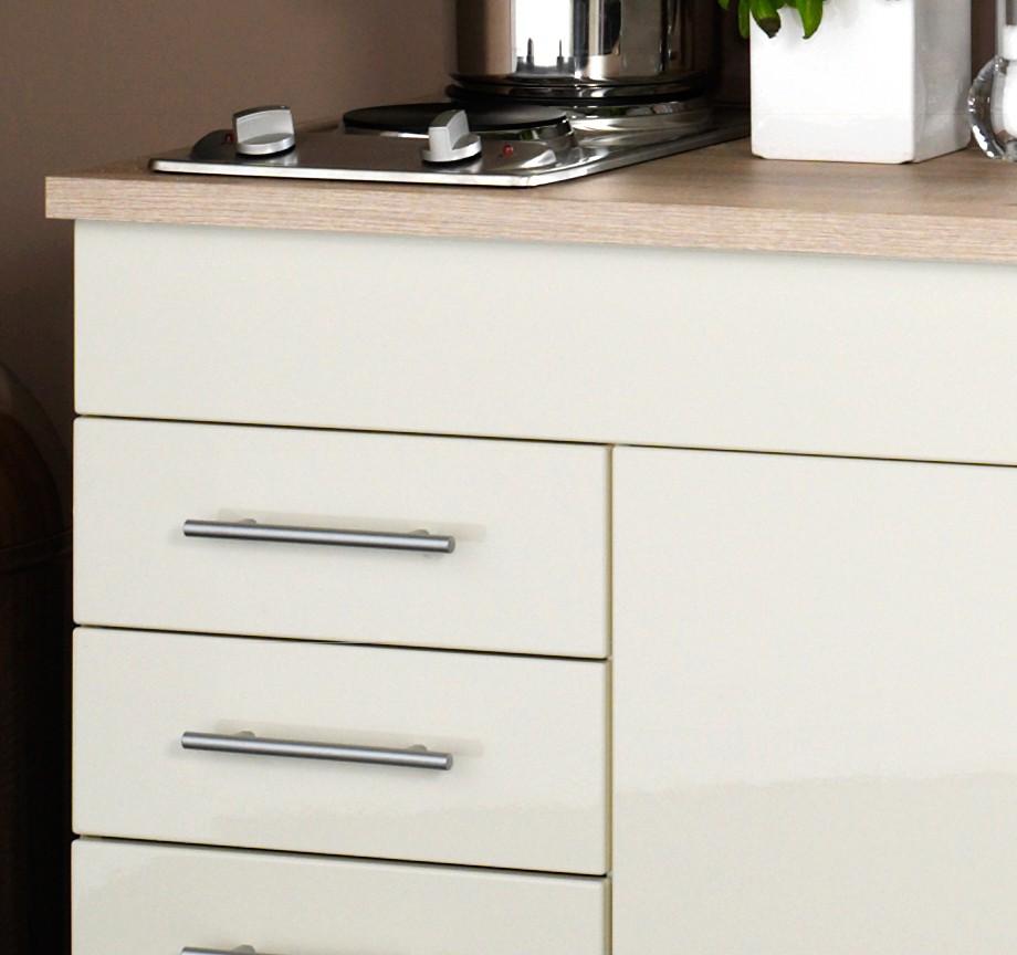 singlek che berlin breite 120 cm hochglanz creme eiche sonoma k che singlek chen. Black Bedroom Furniture Sets. Home Design Ideas