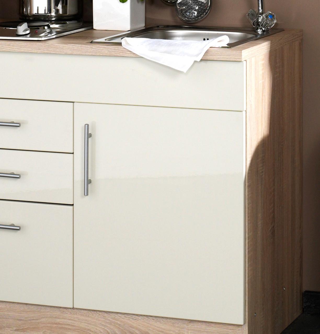 singlek che berlin breite 160 cm hochglanz creme eiche sonoma k che singlek chen. Black Bedroom Furniture Sets. Home Design Ideas