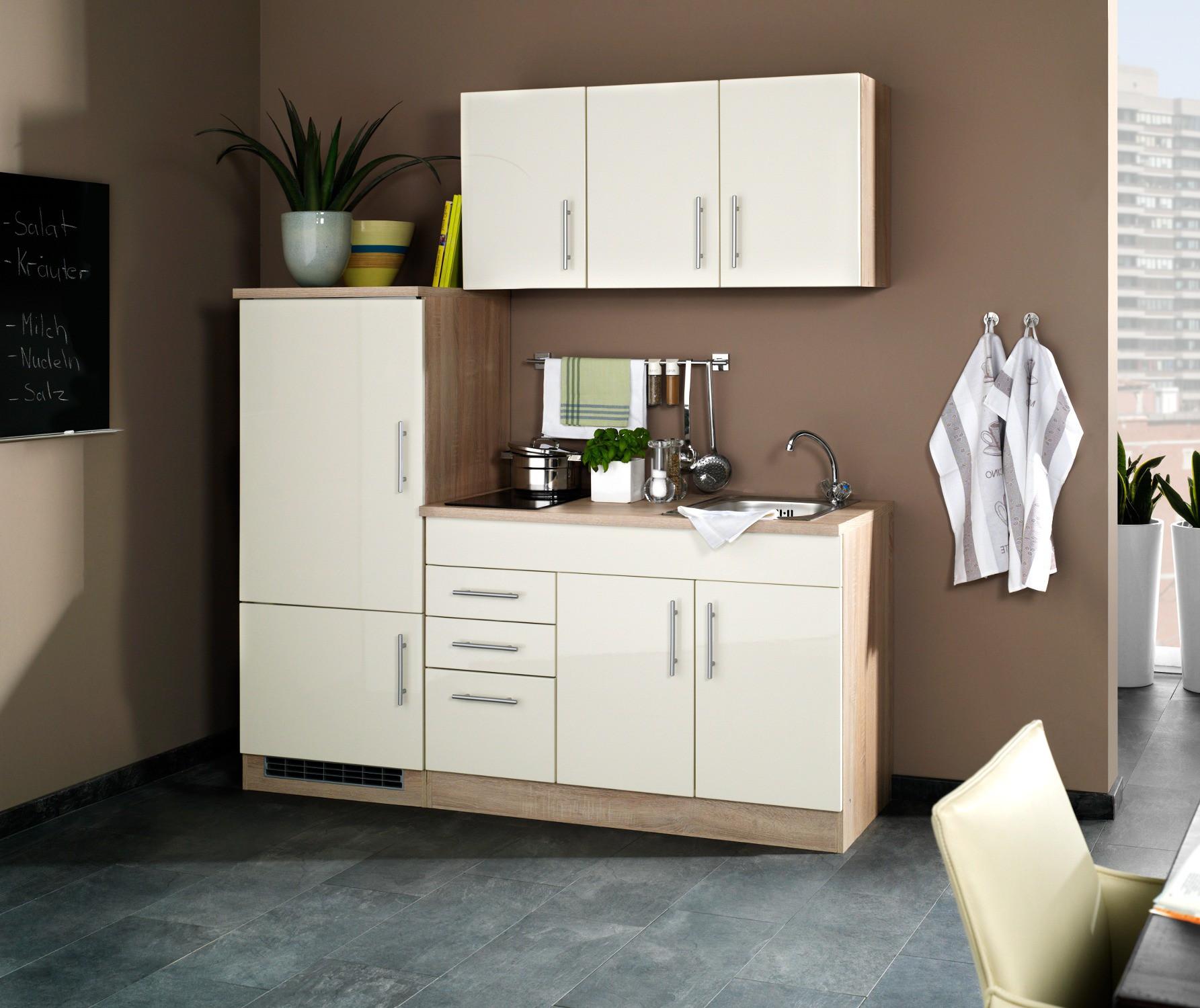 singlek che berlin glaskeramik kochfeld breite 180 cm hochglanz creme eiche sonoma k che. Black Bedroom Furniture Sets. Home Design Ideas