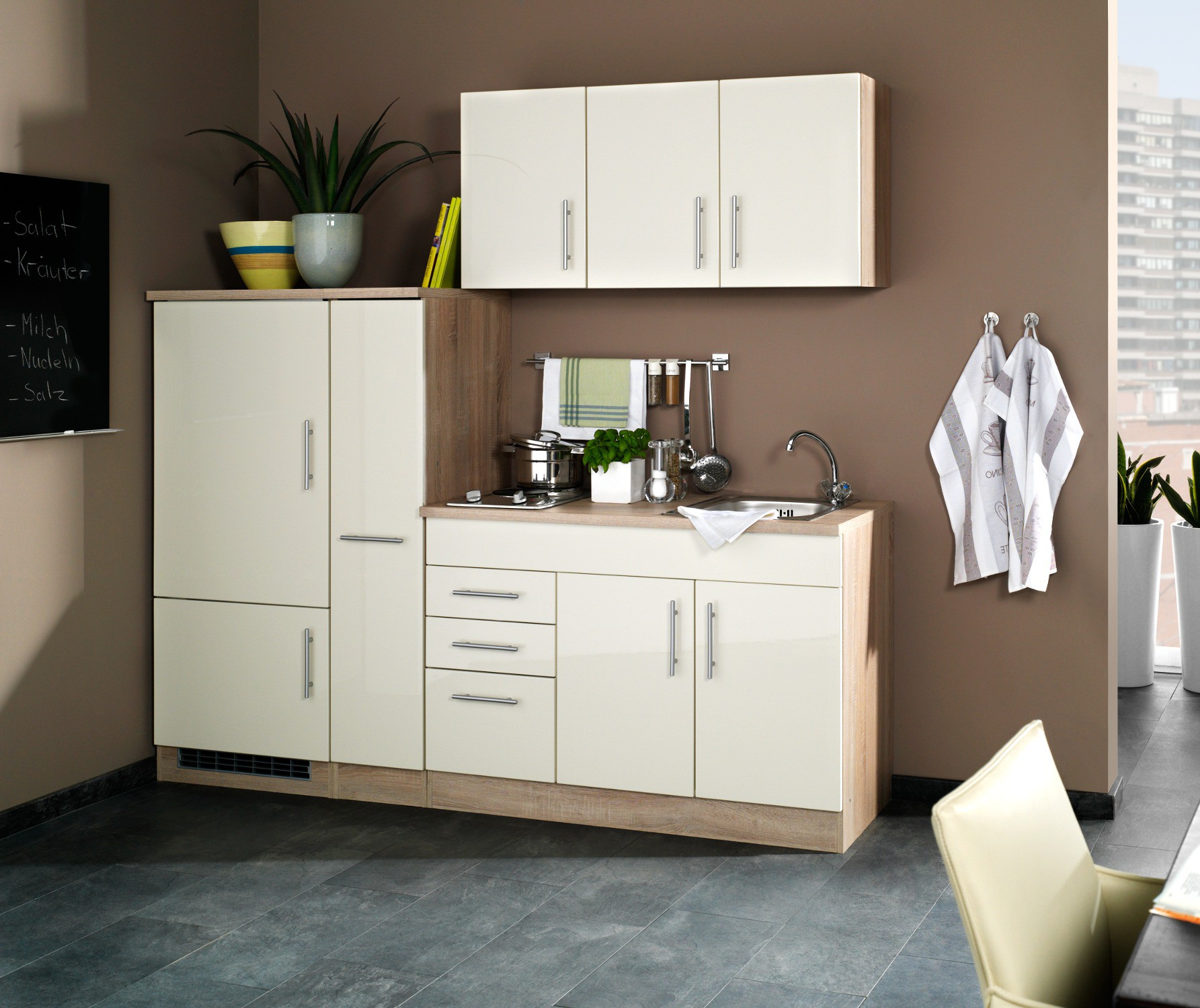 singlek che berlin breite 210 cm hochglanz creme. Black Bedroom Furniture Sets. Home Design Ideas