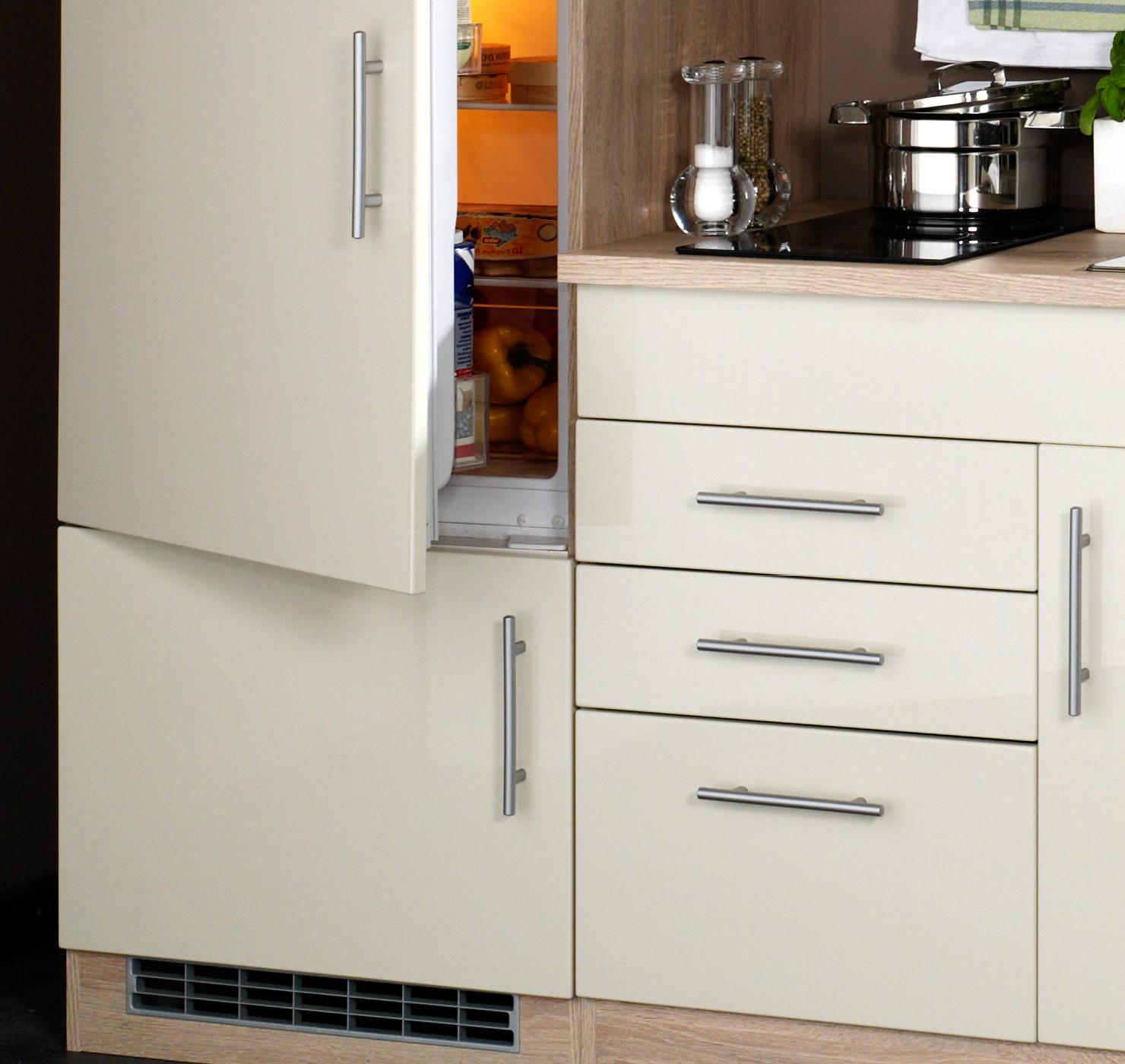 singlek che berlin glaskeramik kochfeld und k hlschrank breite 160 cm hochglanz creme. Black Bedroom Furniture Sets. Home Design Ideas