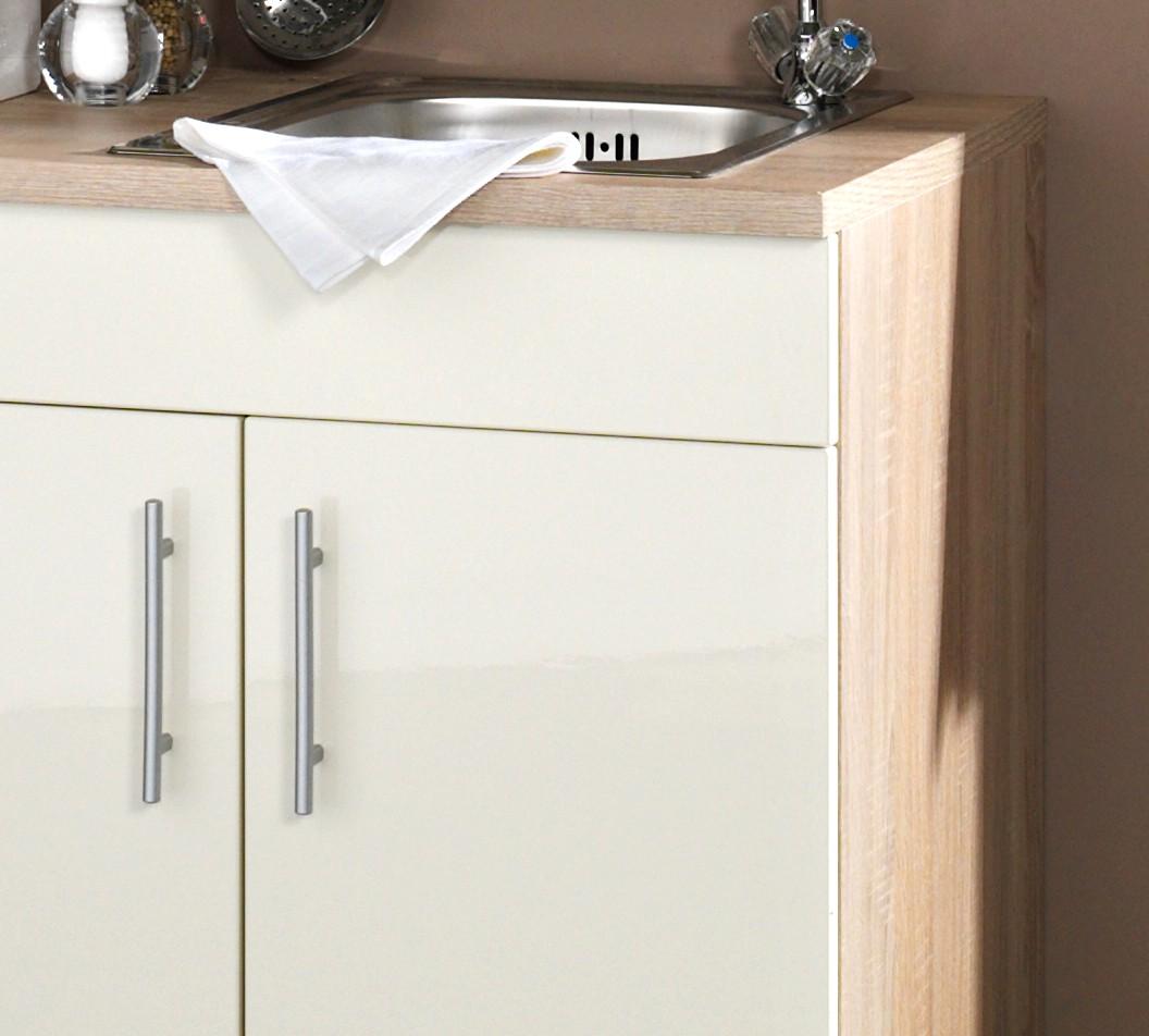 singlek che berlin mit k hlschrank breite 180 cm hochglanz creme eiche sonoma k che. Black Bedroom Furniture Sets. Home Design Ideas
