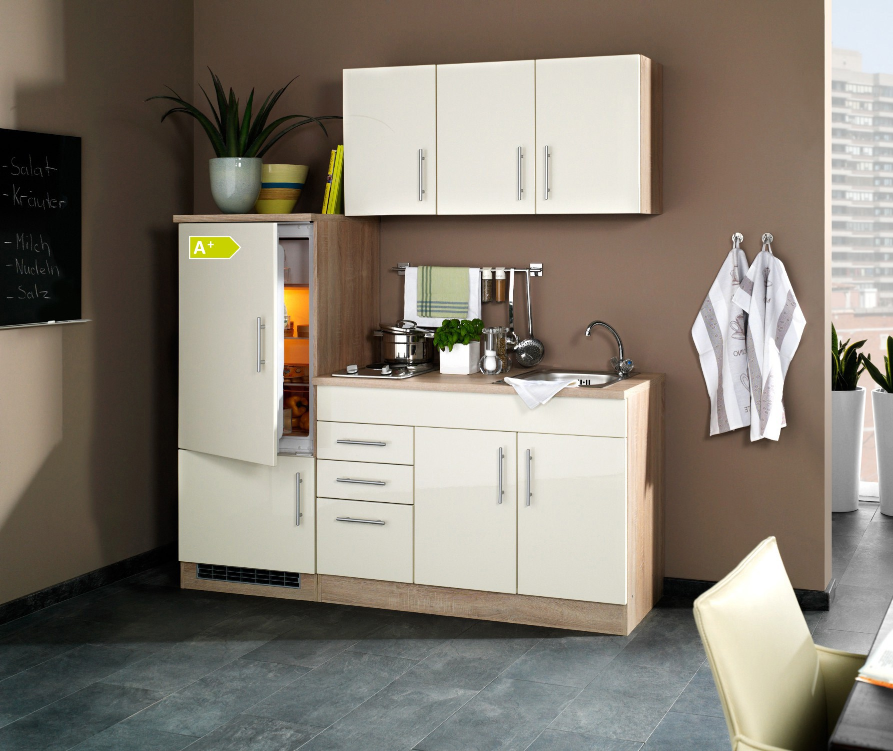 singlek che berlin mit k hlschrank breite 180 cm hochglanz creme eiche sonoma k che. Black Bedroom Furniture Sets. Home Design Ideas