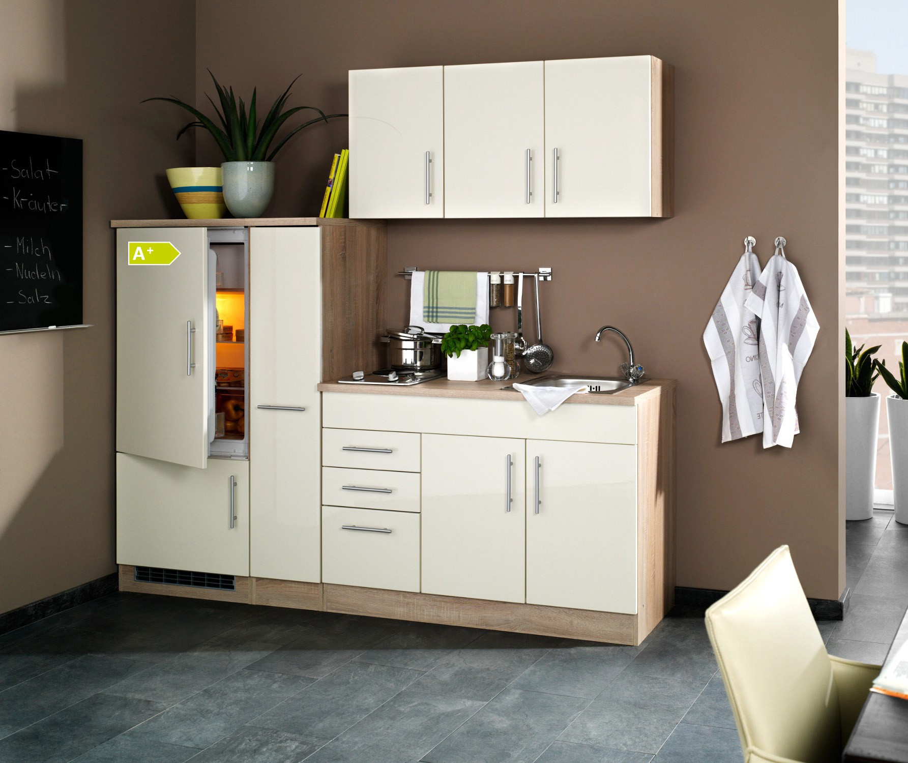 singlek che berlin mit k hlschrank breite 210 cm hochglanz creme eiche sonoma k che. Black Bedroom Furniture Sets. Home Design Ideas