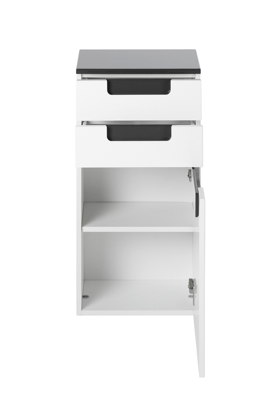 bad unterschrank siena 1 t rig 2 schubladen 40 cm breit hochglanz wei anthrazit grau. Black Bedroom Furniture Sets. Home Design Ideas
