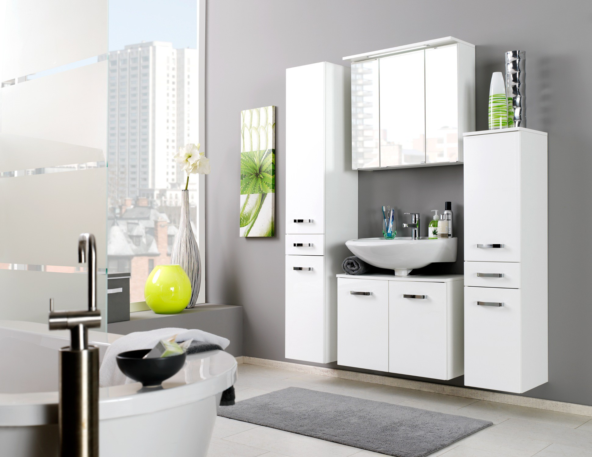 bad spiegelschrank bologna 3 t rig mit led lichtleiste. Black Bedroom Furniture Sets. Home Design Ideas