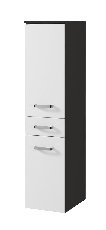 bad midischrank bologna 2 t rig 1 schublade 30 cm breit hochglanz wei graphitgrau bad. Black Bedroom Furniture Sets. Home Design Ideas