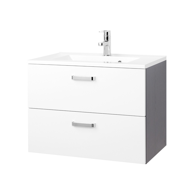 bad waschtisch bologna 2 ausz ge 70 cm breit hochglanz wei graphitgrau bad bologna. Black Bedroom Furniture Sets. Home Design Ideas