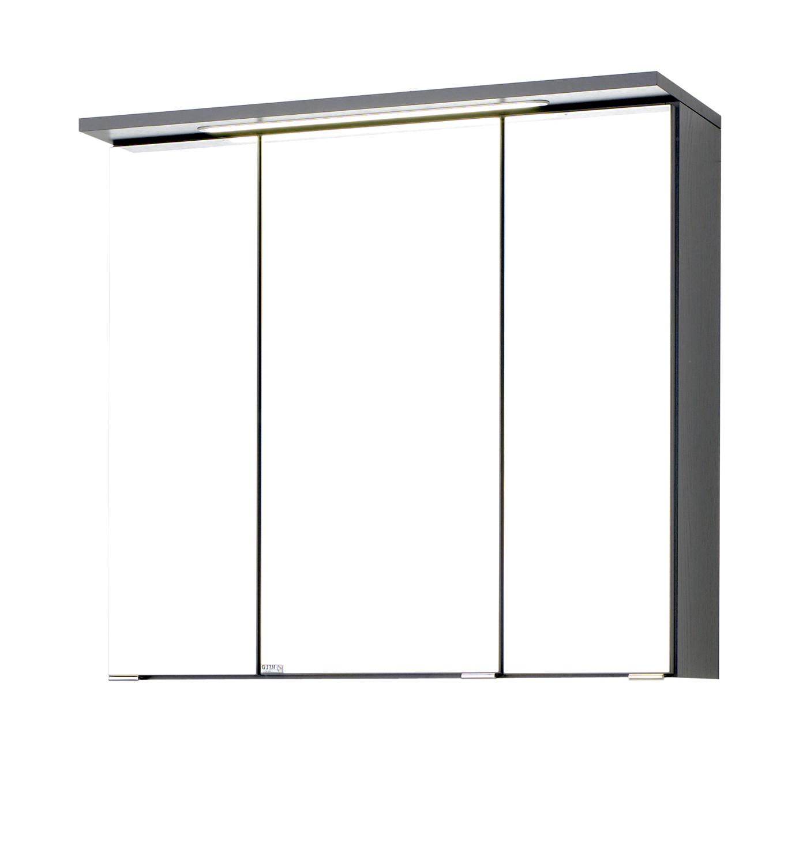 bad spiegelschrank bologna 3 t rig mit led lichtleiste 70 cm breit graphitgrau bad bologna. Black Bedroom Furniture Sets. Home Design Ideas