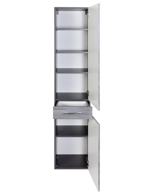 bad hochschrank florida 2 t rig 1 schublade 40 cm breit eiche rauchsilber graphitgrau. Black Bedroom Furniture Sets. Home Design Ideas