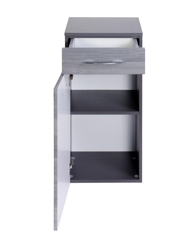 bad unterschrank florida 1 t rig 1 schublade 40 cm breit eiche rauchsilber graphitgrau. Black Bedroom Furniture Sets. Home Design Ideas
