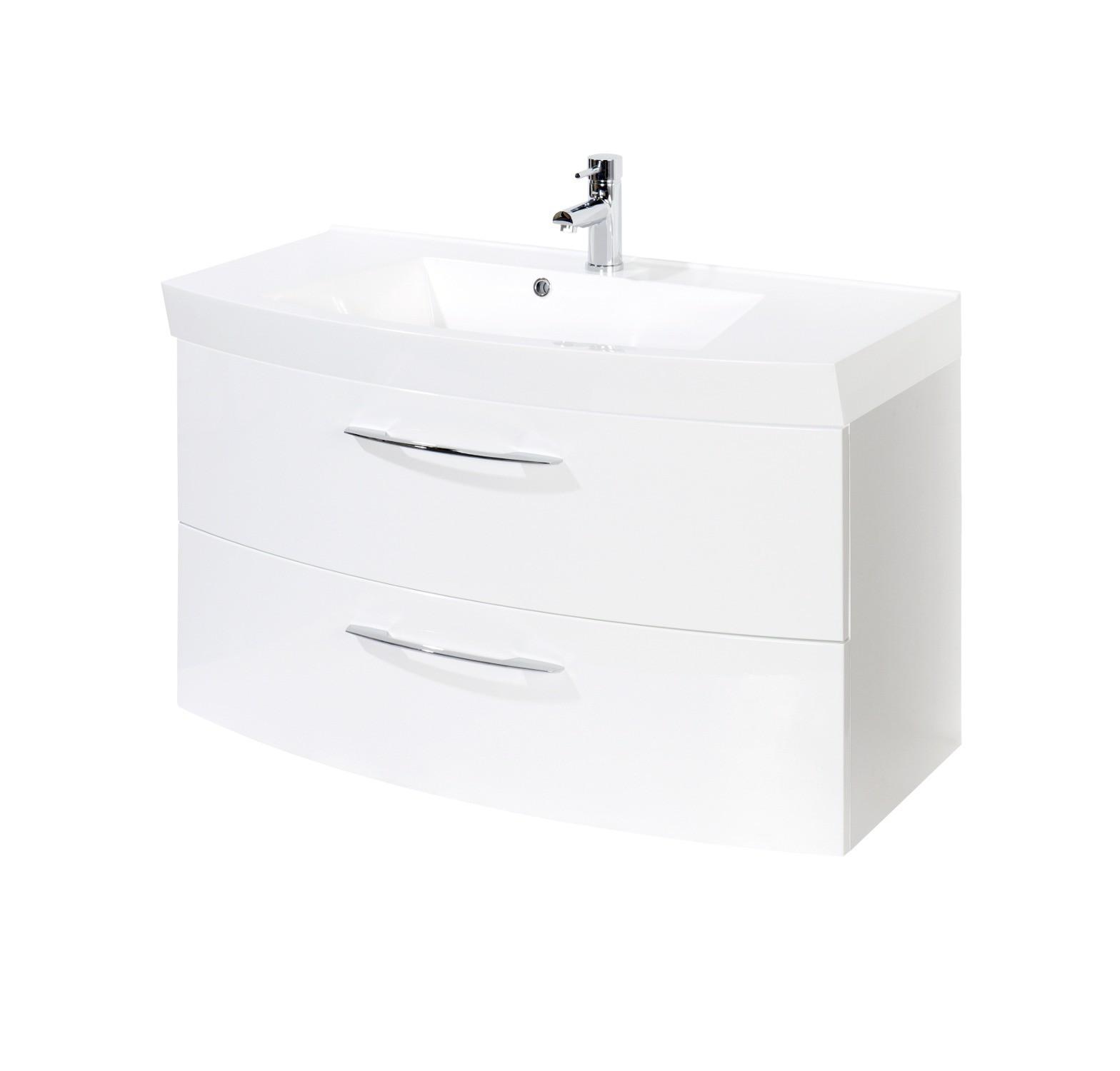 badm bel set florida mit waschtisch und spiegelschrank 4 teilig 100 cm breit hochglanz. Black Bedroom Furniture Sets. Home Design Ideas