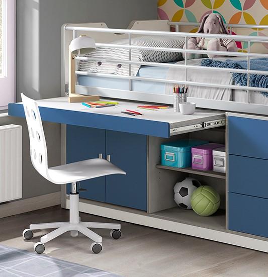 hochbett bonny liegefl che 90 x 200 cm wei blau kinder jugendzimmer funktionsbetten. Black Bedroom Furniture Sets. Home Design Ideas