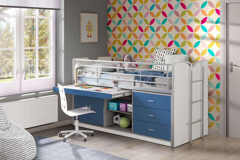 Hochbett bonny liegefl che 90 x 200 cm wei blau for Jugendzimmer mit funktionsbett
