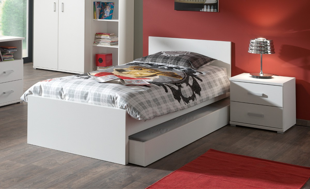 jugendzimmer milan komplett mit einzelbett bettschublade und nachtkonsole kinder. Black Bedroom Furniture Sets. Home Design Ideas