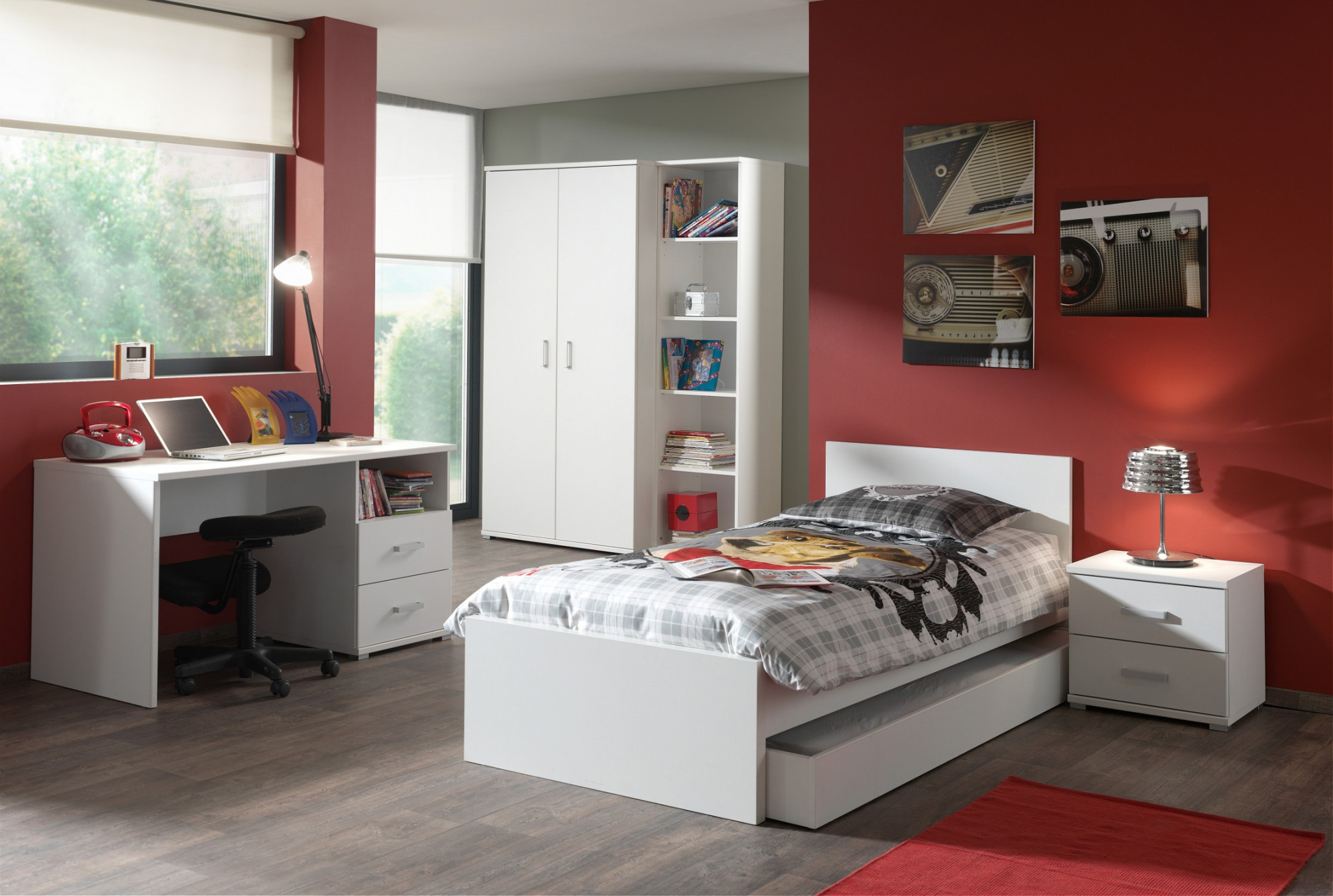 jugendzimmer milan komplett mit einzelbett. Black Bedroom Furniture Sets. Home Design Ideas