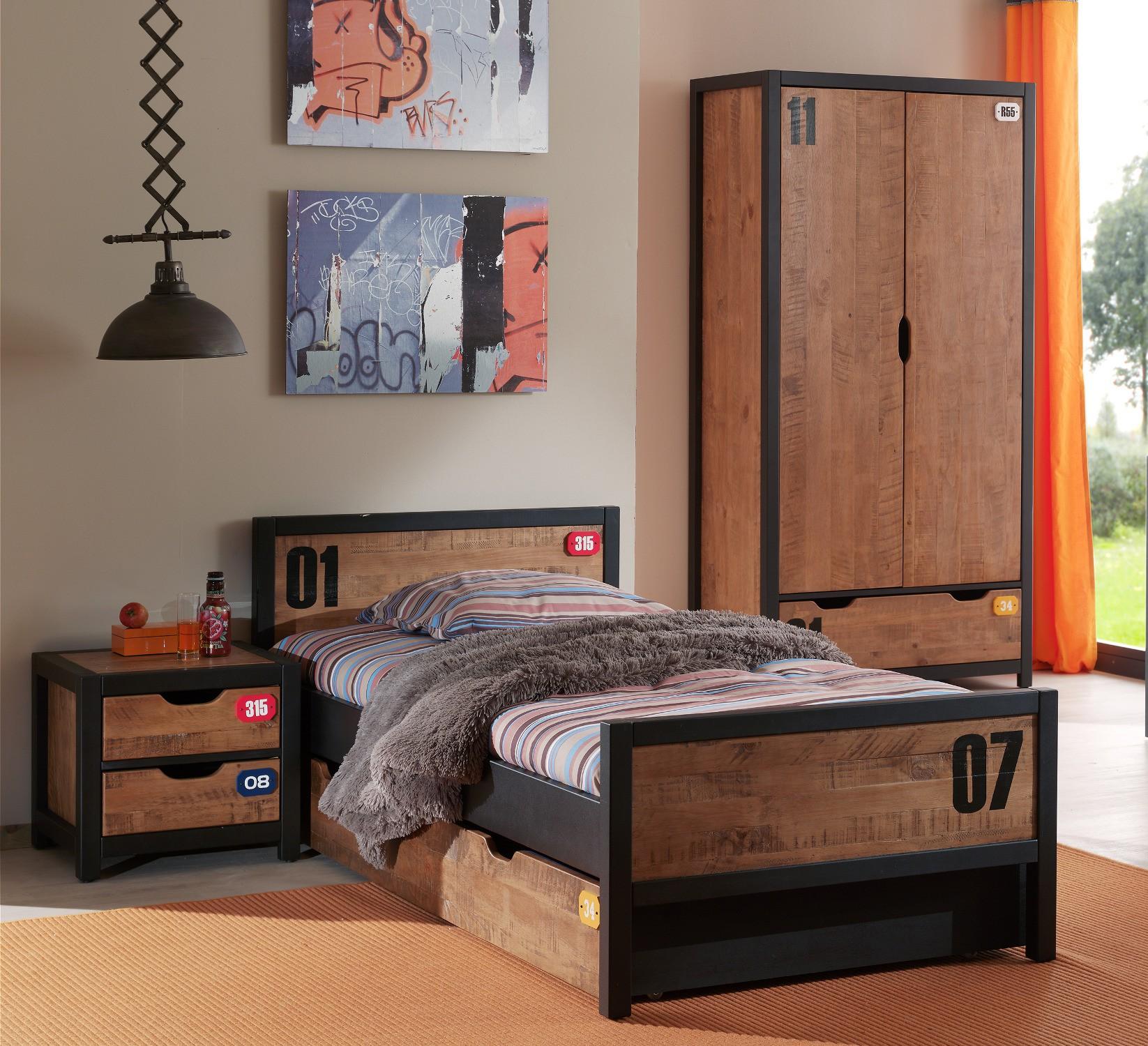 jugendzimmer alex komplett mit einzelbett bettschublade kleiderschrank 2 t rig und. Black Bedroom Furniture Sets. Home Design Ideas