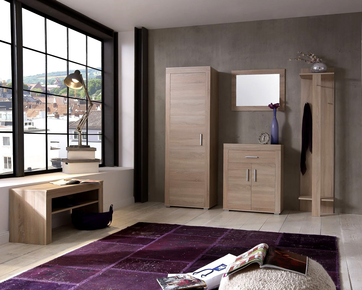 garderobenbank lake 80 cm breit eiche sonoma wohnen diele. Black Bedroom Furniture Sets. Home Design Ideas