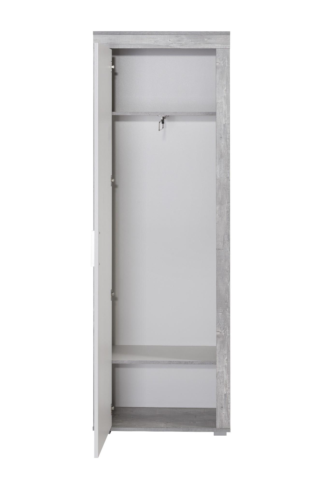 Garderobenset lake 130 cm breit 3 teilig wei beton for Garderobenschrank 130 cm breit