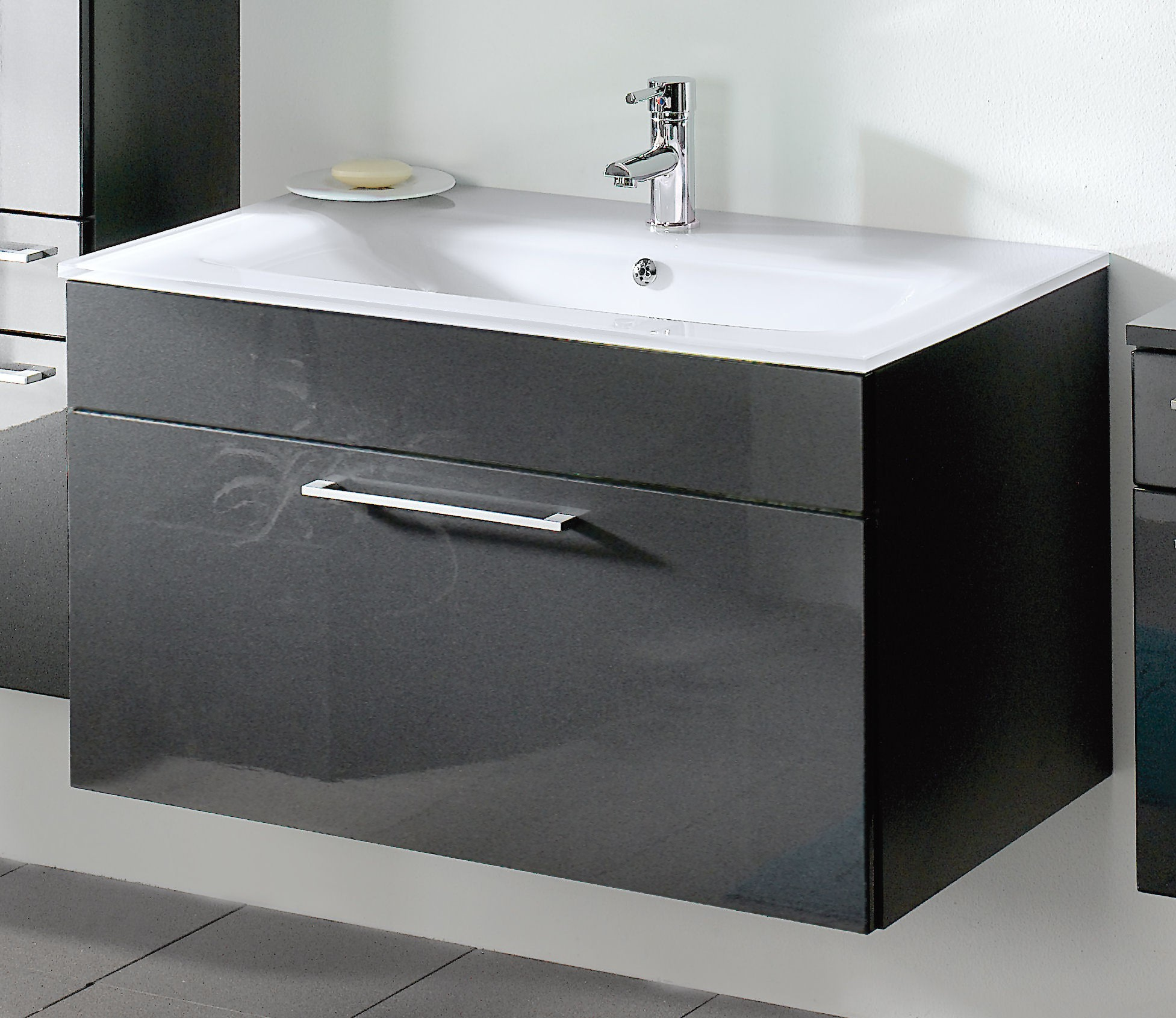 bad waschtisch hera mit glaswaschbecken wei 90 cm breit anthrazit bad hera. Black Bedroom Furniture Sets. Home Design Ideas