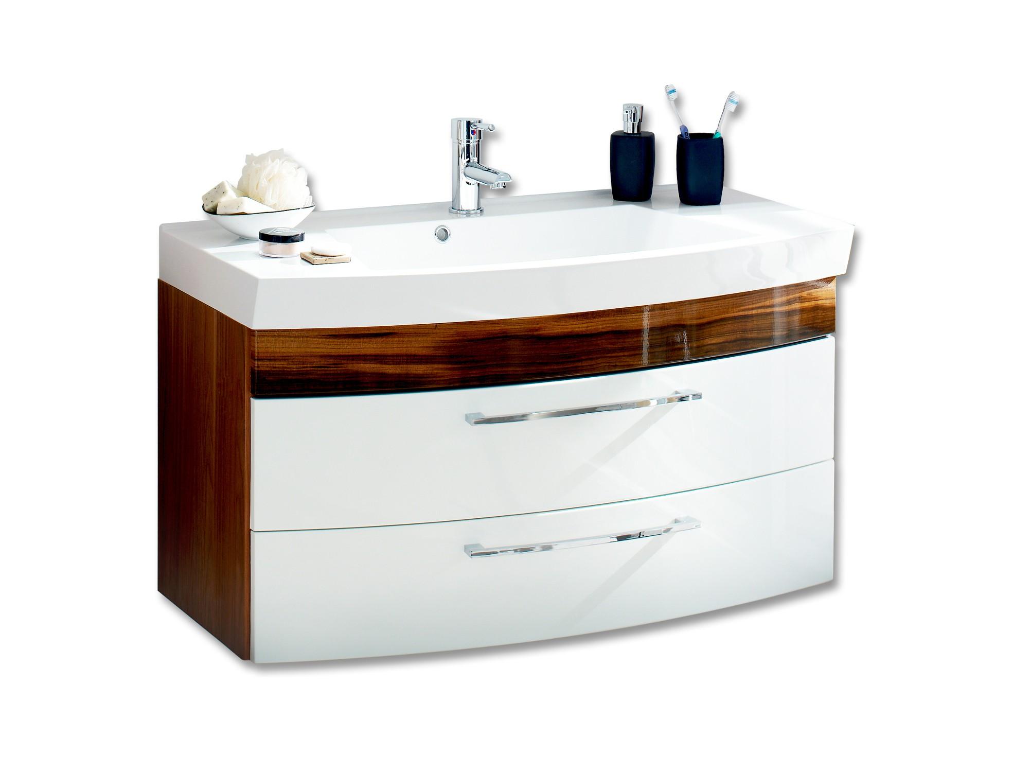 badm bel set rima i mit waschtisch 5 teilig 140 cm breit wei walnuss bad badm belsets. Black Bedroom Furniture Sets. Home Design Ideas
