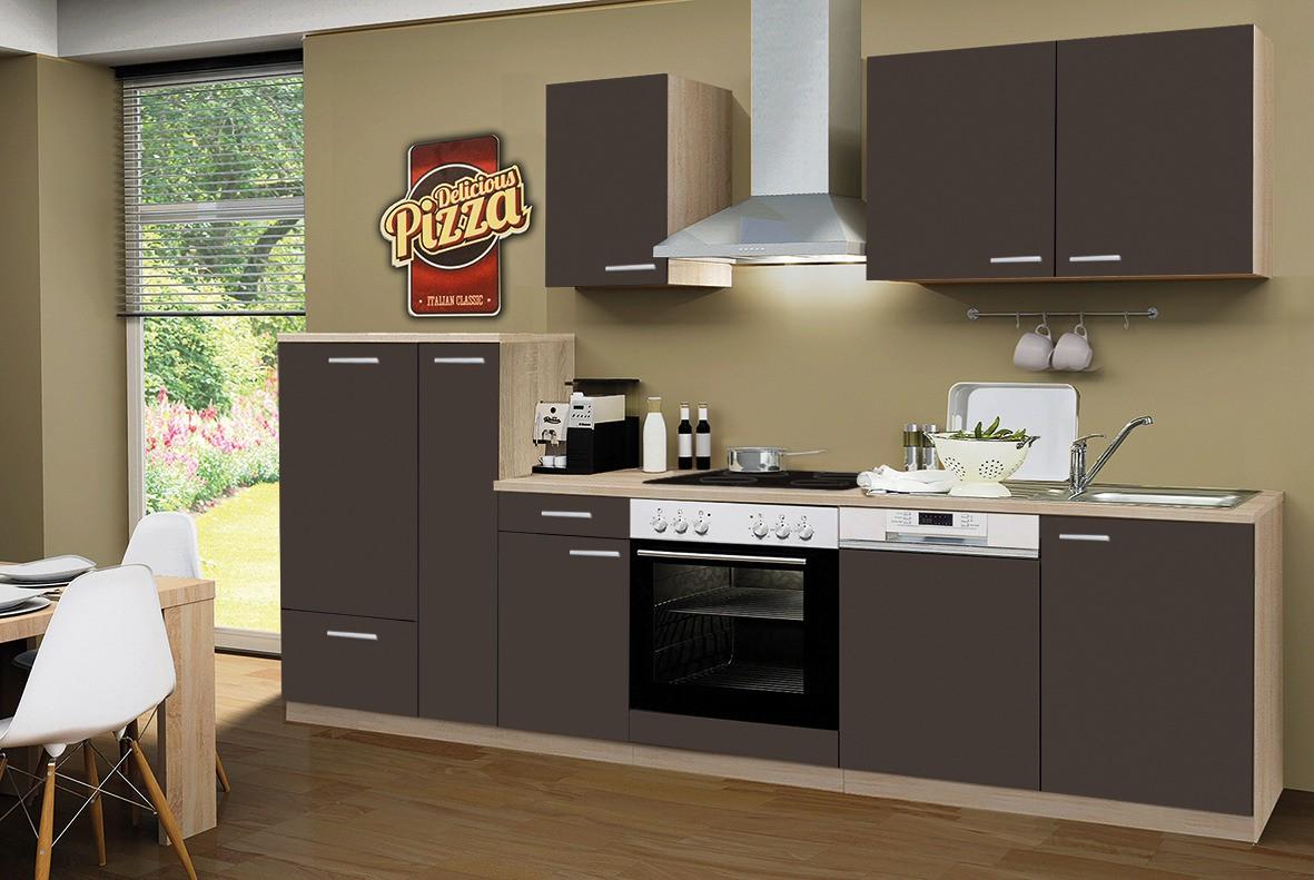 k chenzeile g teborg mit geschirrsp ler und glaskeramikkochfeld breite 300 cm schoko braun. Black Bedroom Furniture Sets. Home Design Ideas