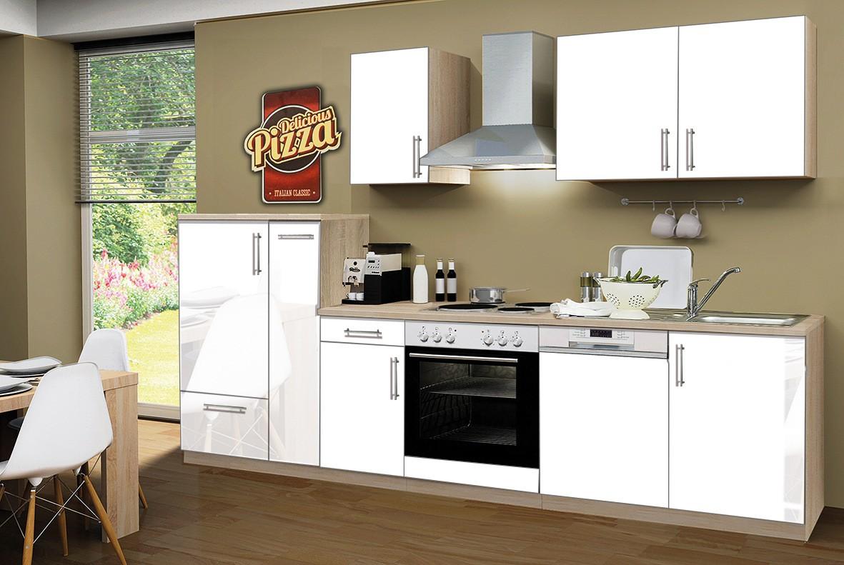 k chenzeile stockholm k che mit e ger ten 15 teilig elektro breite 300 cm hochglanz wei. Black Bedroom Furniture Sets. Home Design Ideas