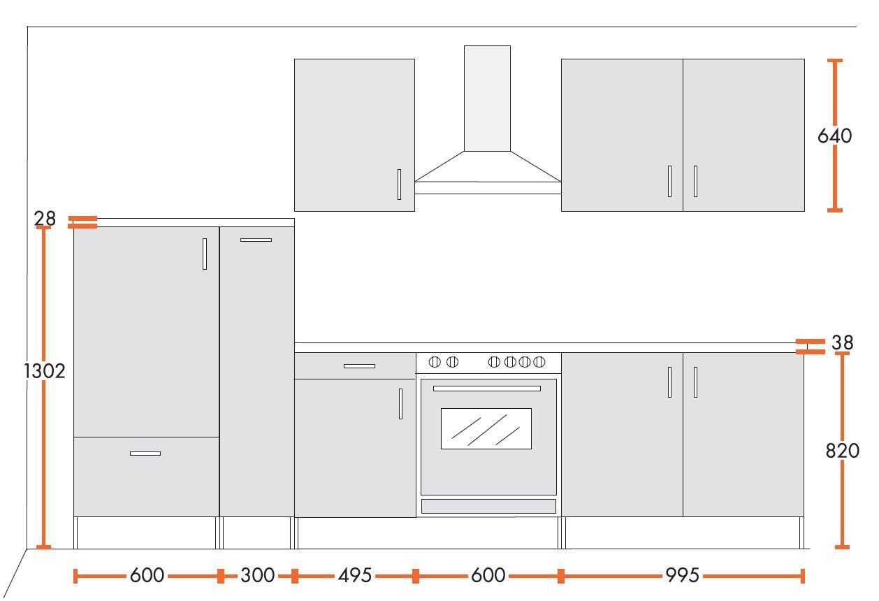 k chenzeile stockholm mit e ger ten und glaskeramikkochfeld breite 300 cm hochglanz wei. Black Bedroom Furniture Sets. Home Design Ideas