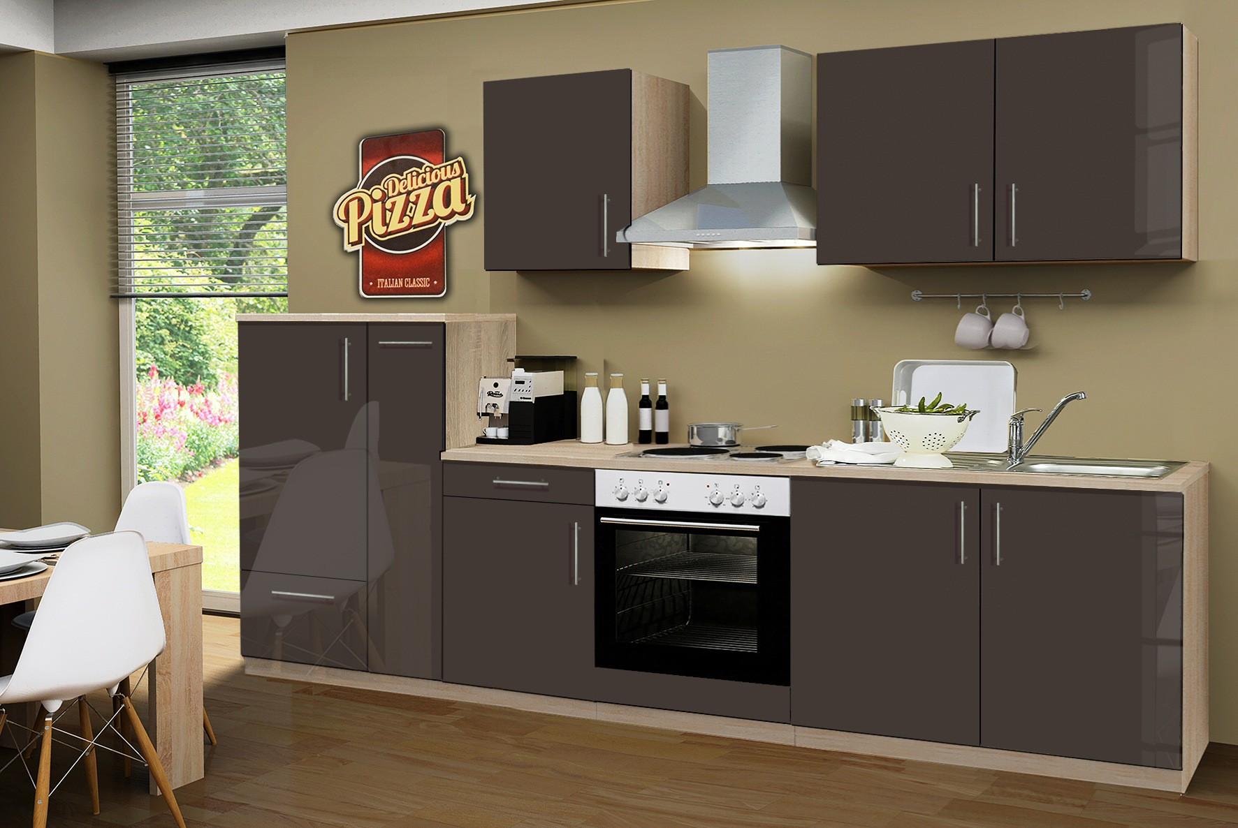 k chenzeile stockholm k che mit e ger ten 13 teilig elektro breite 300 cm hochglanz. Black Bedroom Furniture Sets. Home Design Ideas