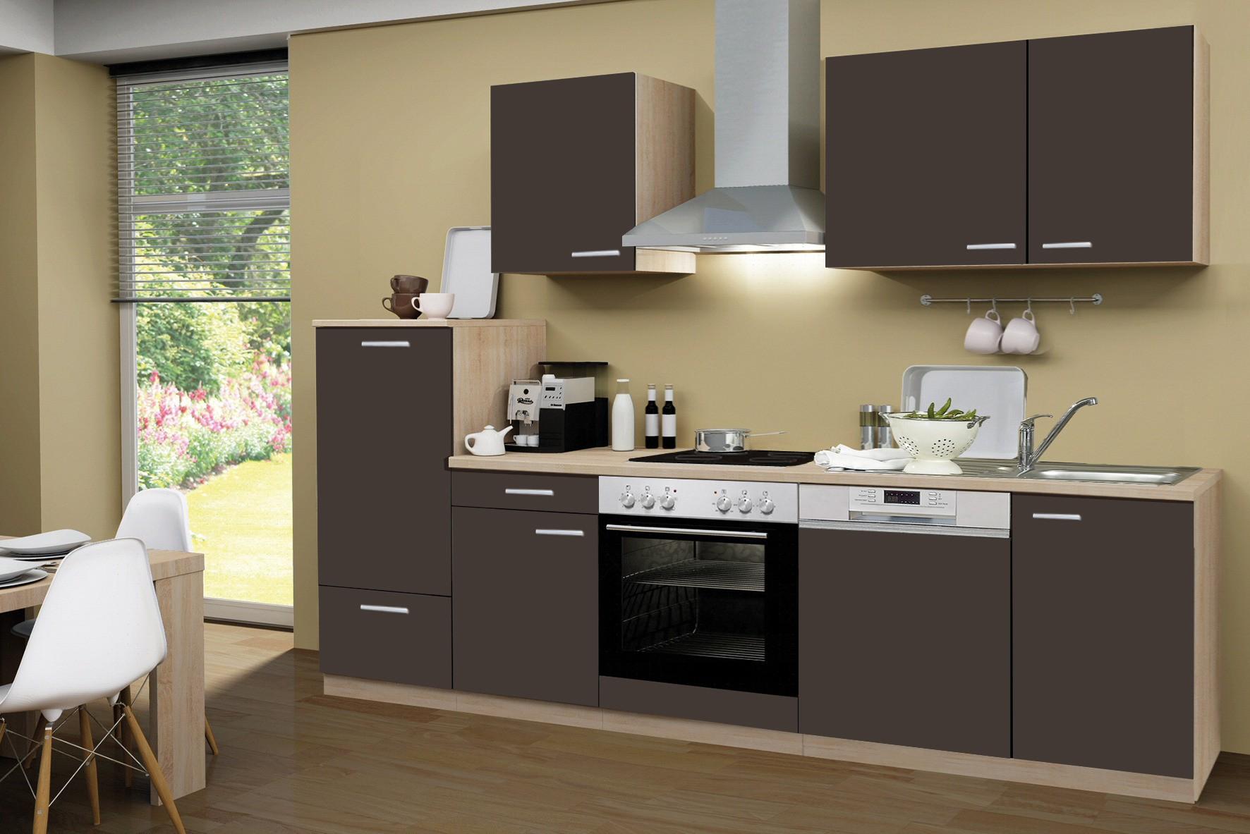 k chenzeile g teborg mit e ger ten und glaskeramikkochfeld breite 280 cm schoko braun. Black Bedroom Furniture Sets. Home Design Ideas