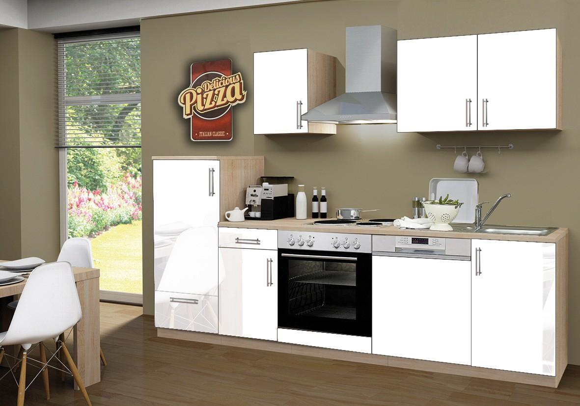 k chenzeile stockholm k che mit e ger ten 14 teilig elektro breite 270 cm hochglanz wei. Black Bedroom Furniture Sets. Home Design Ideas