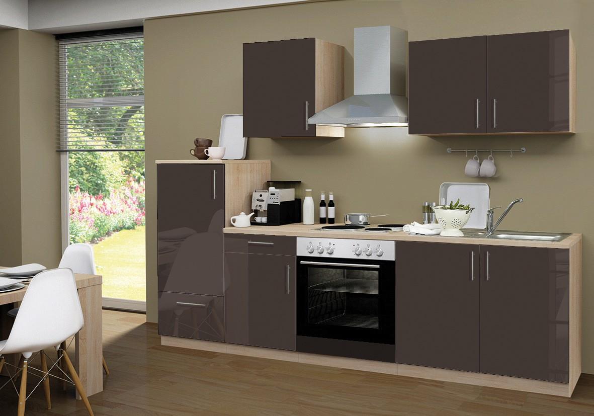 Küche Braun Hochglanz : ... Geräten - 12-teilig Elektro - Breite 270 ...