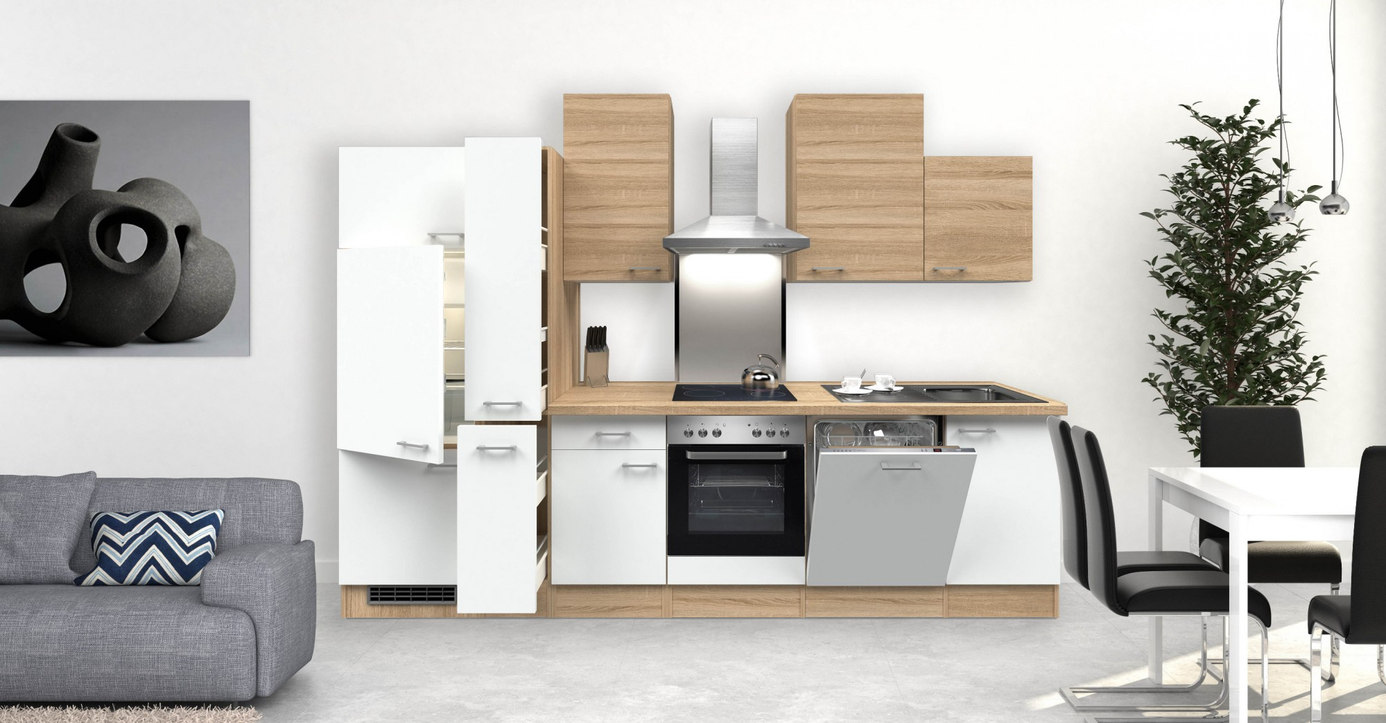 k chen sp lenschrank rom 2 t rig 100 cm breit wei. Black Bedroom Furniture Sets. Home Design Ideas