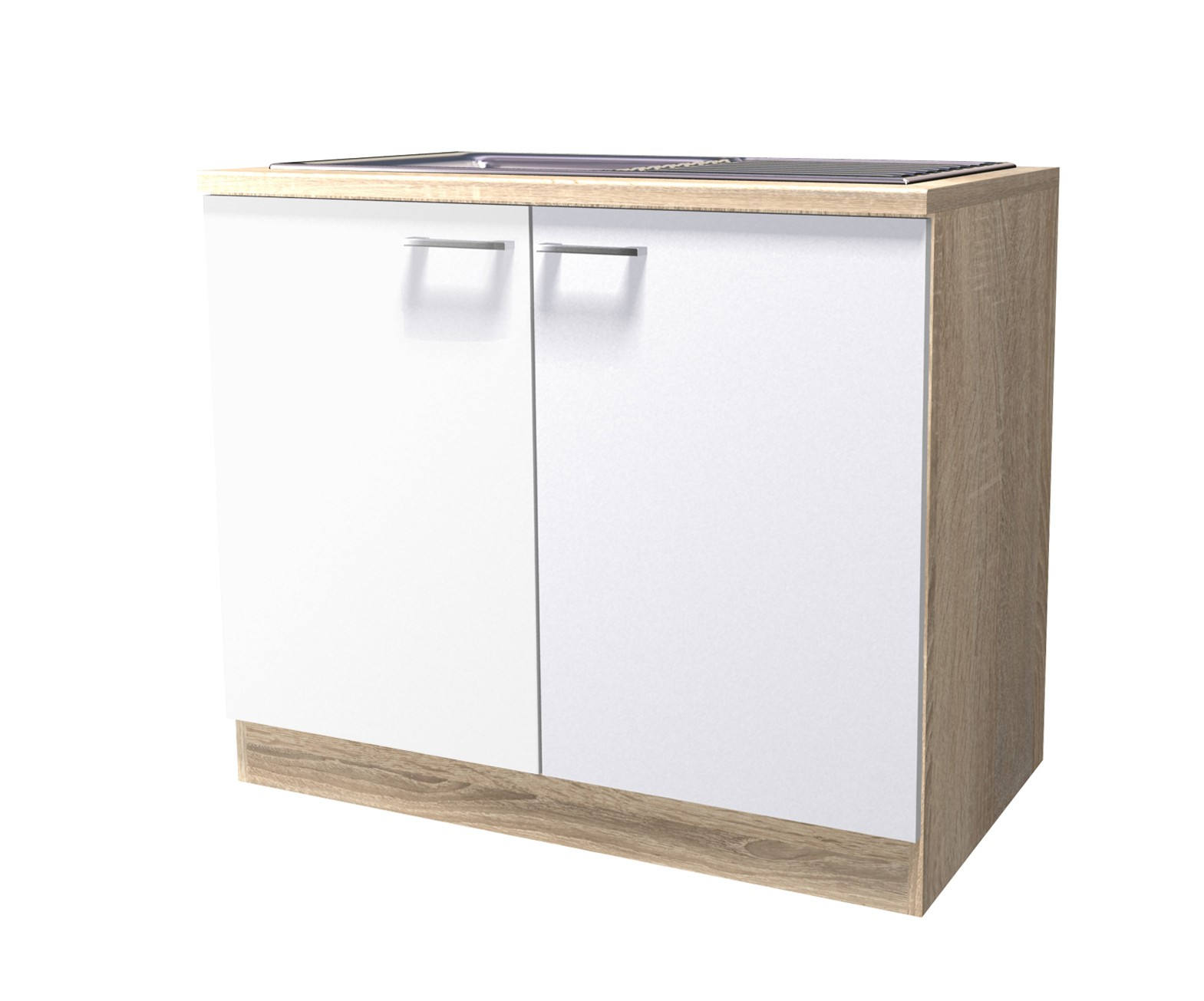 neu sp le k chen sp lenschrank rom 100cm sp lschrank weiss sonoma ebay. Black Bedroom Furniture Sets. Home Design Ideas