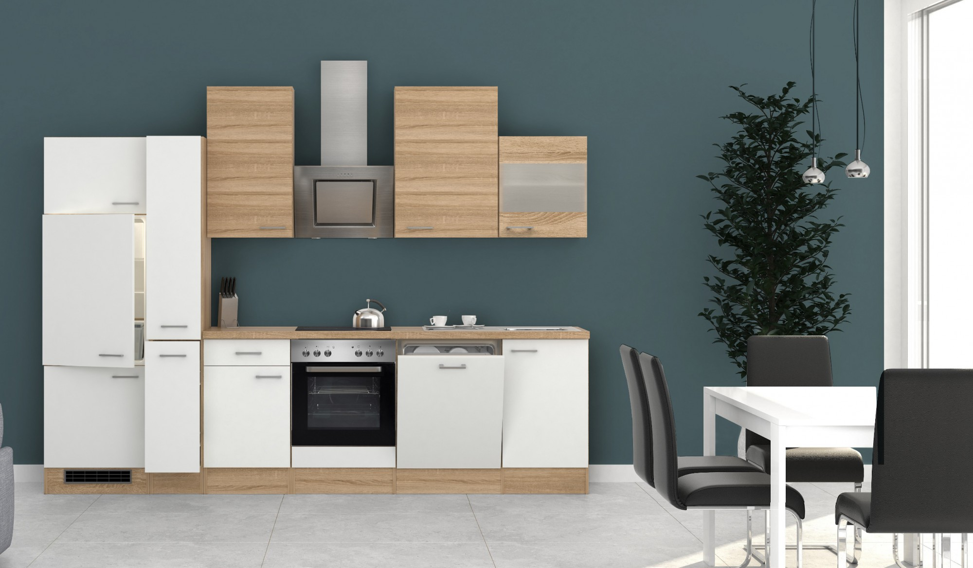 k chenzeile rom k che mit e ger ten 16 teilig breite. Black Bedroom Furniture Sets. Home Design Ideas