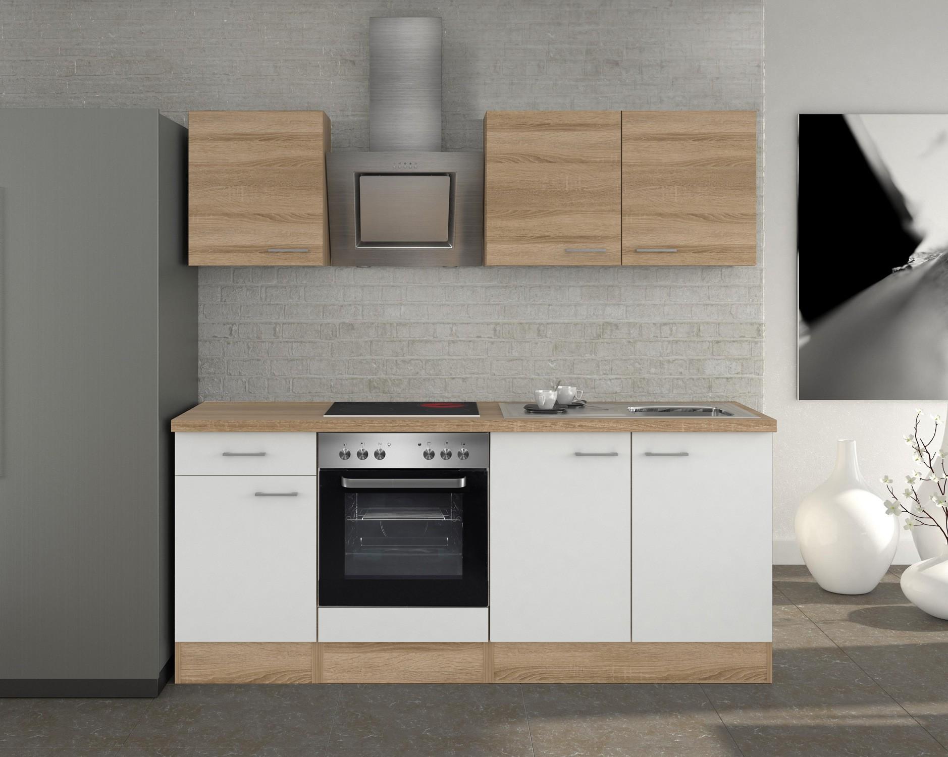 k chenzeile rom k che mit e ger ten 10 teilig breite 210 cm wei k che rom. Black Bedroom Furniture Sets. Home Design Ideas