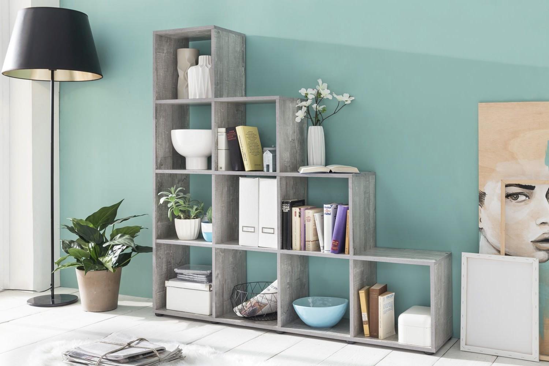 stufenregal maik 10 f cher beton grau wohnen regale. Black Bedroom Furniture Sets. Home Design Ideas