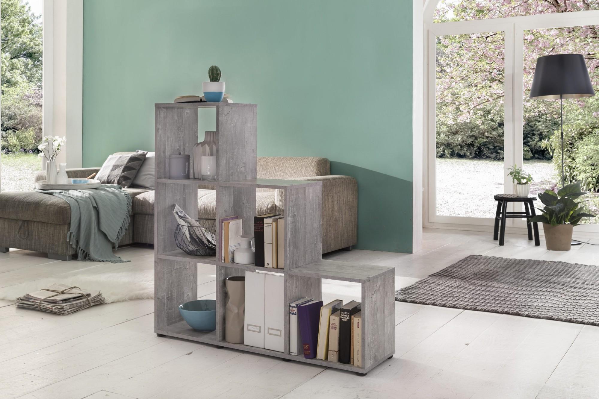 neu regal treppenregal 6 f cher stufenregal raumteiler b cherregal grau ebay. Black Bedroom Furniture Sets. Home Design Ideas