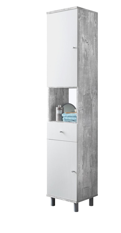 bad-hochschrank lindau - 2-türig, 1 schublade - 35 cm breit - weiß ... - Badezimmer Hochschrank Weis