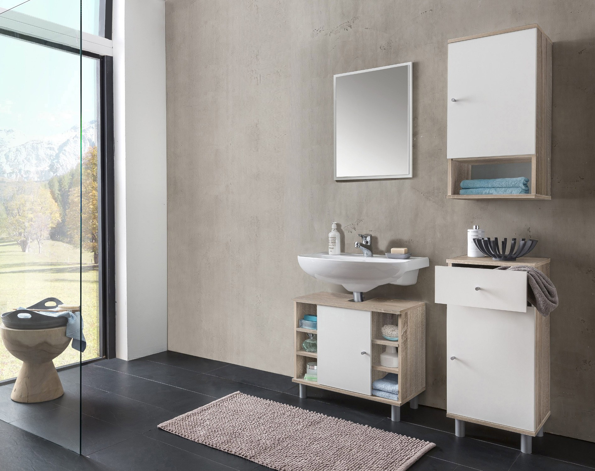 badm bel set lindau vario 1 4 teilig 95 cm breit wei eiche sonoma bad badm belsets. Black Bedroom Furniture Sets. Home Design Ideas