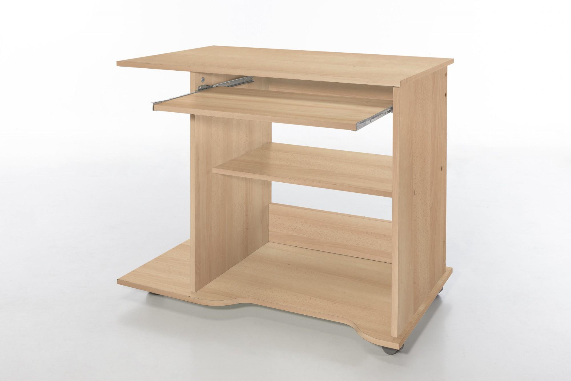 Pc schreibtisch tom 80 cm breite buche wohnen office for Schreibtisch weiss 1m breit