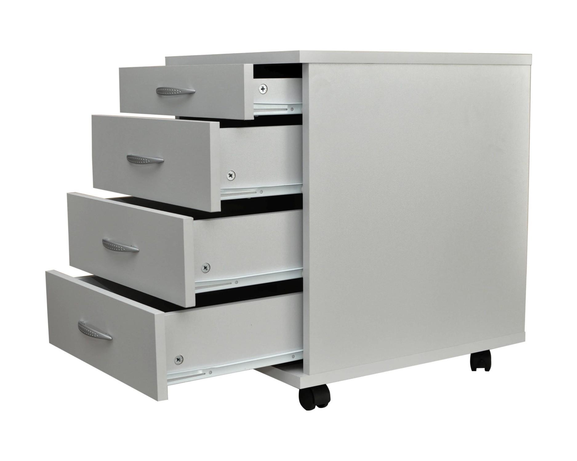 neu schreibtisch rollcontainer ravenna rollwagen schrank schubladen 42 cm grau ebay. Black Bedroom Furniture Sets. Home Design Ideas