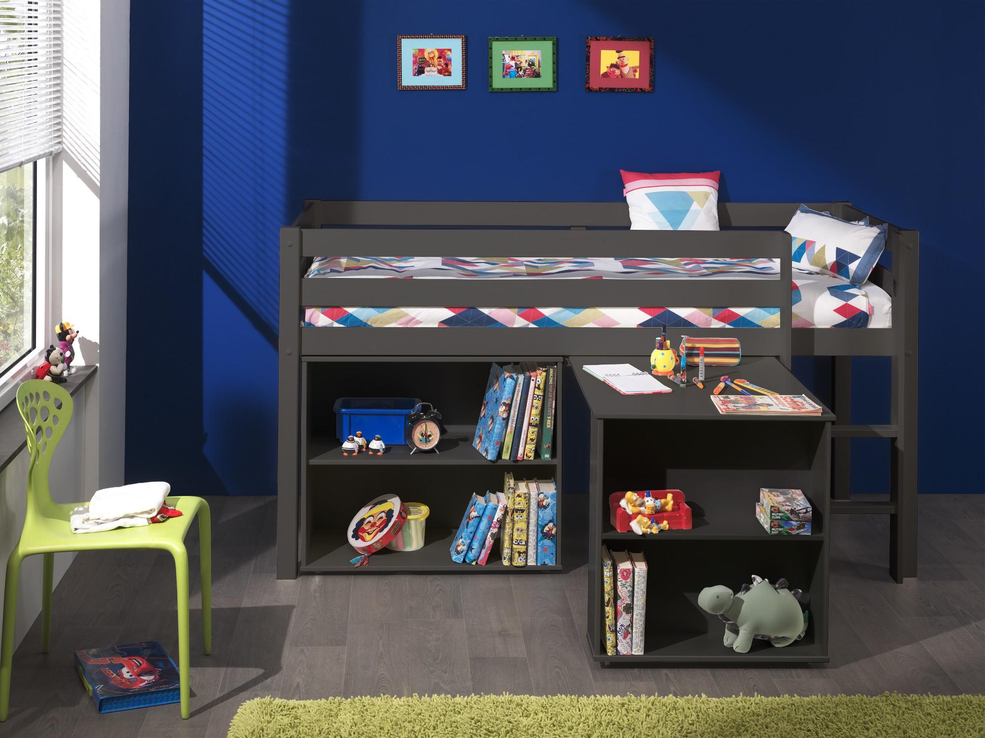 Funktionshochbett  Funktions-Hochbett PINO mit Schreibtisch und Regal - Kiefer ...