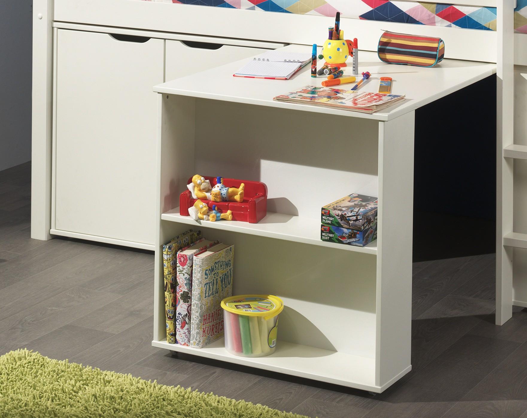 Funktionshochbett  Funktions-Hochbett PINO mit Schreibtisch und Kommode - Kiefer Weiß ...