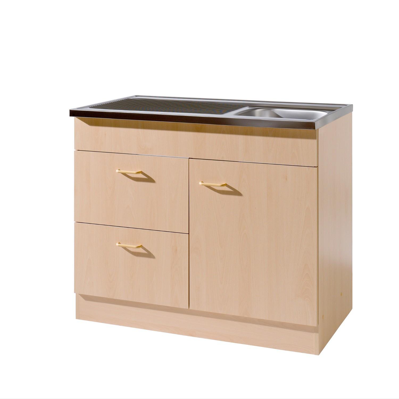 Küchen Spülenschrank 1 türig 2 Auszüge Breite 100 cm
