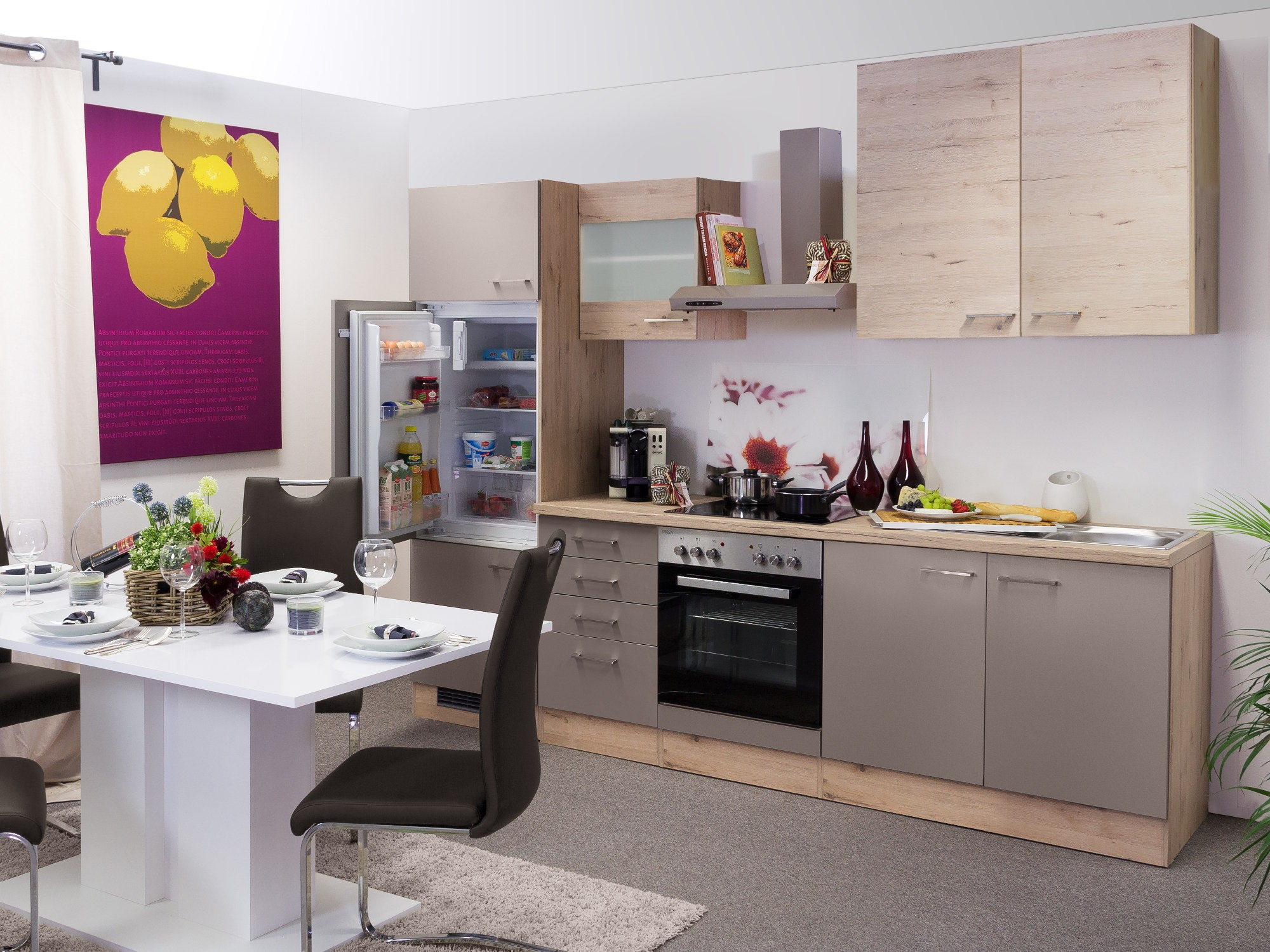 Küchen Unterschrank RIVA 1 Auszug 3 Schubladen 50 cm