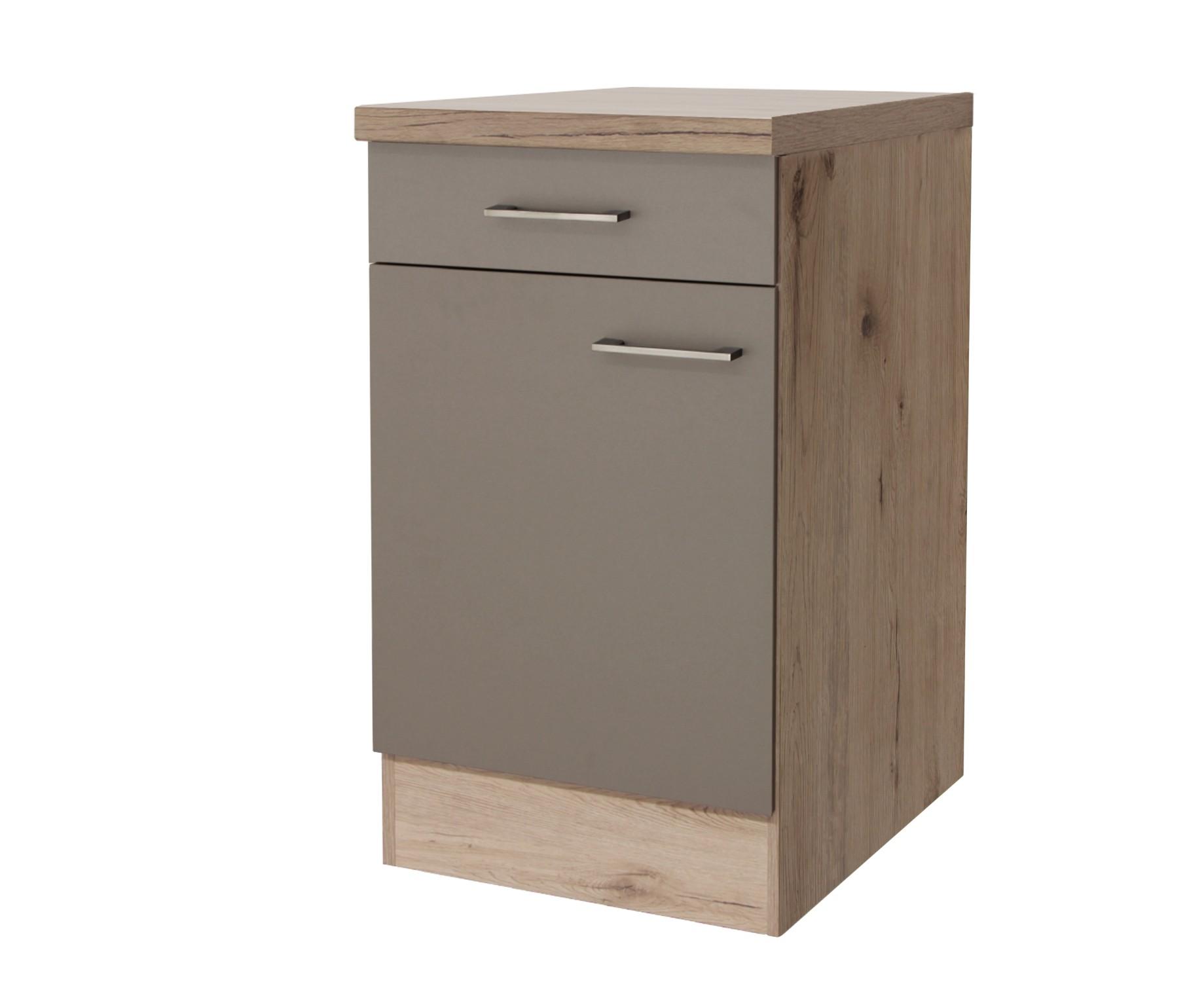k chen unterschrank riva 1 t rig 50 cm breit bronze metallic k che riva. Black Bedroom Furniture Sets. Home Design Ideas