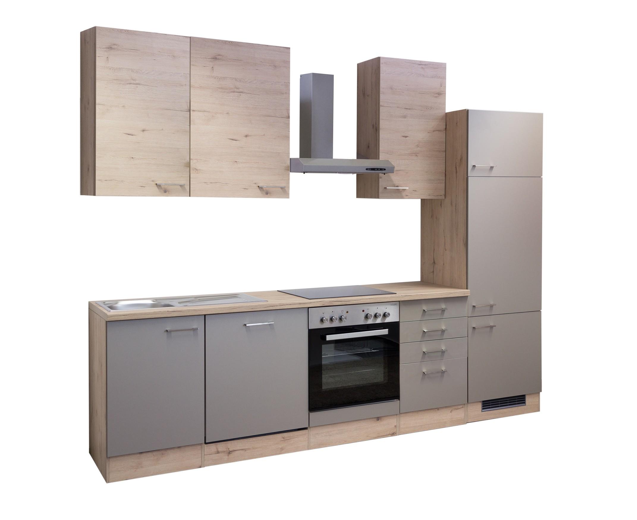 k chenzeile riva k che mit e ger ten 14 teilig breite 280 cm bronze metallic k che. Black Bedroom Furniture Sets. Home Design Ideas