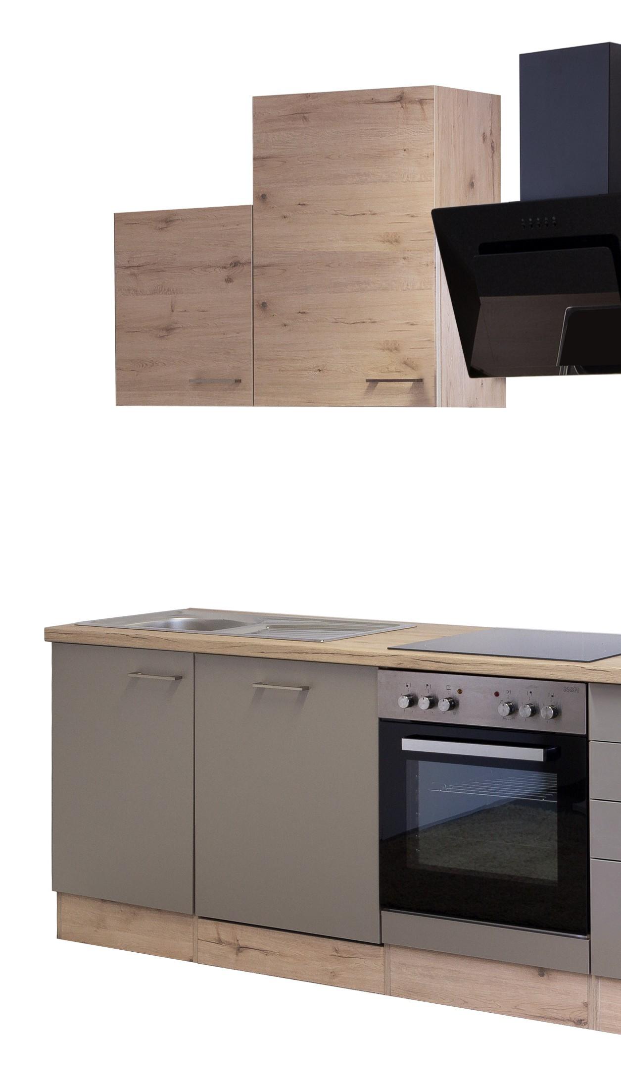 k chenzeile riva k che mit e ger ten und design dunstabzug breite 220 cm bronze metallic. Black Bedroom Furniture Sets. Home Design Ideas